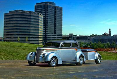 Photograph - 1937 Ford Sedan Hot Rod With Trailer by Tim McCullough