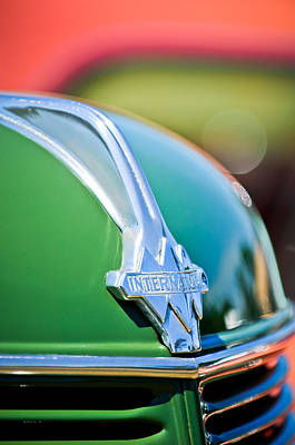 Photograph - 1937 International D-2 Station Wagon Hood Emblem -2652c by Jill Reger