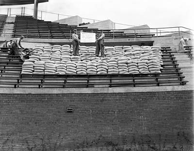 Construction Photograph - 1937 Load Test At Wrigley Field Bleachers by Retro Images Archive