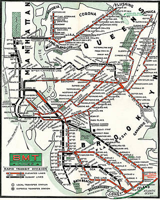 Photograph - 1937 Map Brooklyn Manhattan Transit by BMT Lines