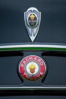 Photograph - 1937 Packard 1508 Twelve Convertible Sedan Emblems by Jill Reger