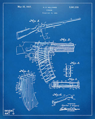 1937 Police Remington Model 8 Magazine Patent Artwork - Blueprin Art Print by Nikki Marie Smith