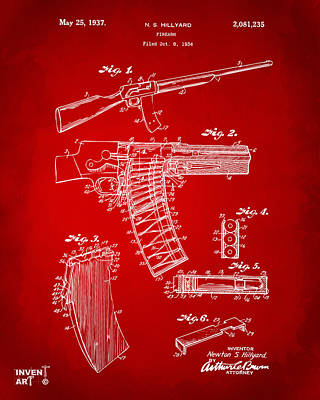 1937 Police Remington Model 8 Magazine Patent Artwork - Red Art Print by Nikki Marie Smith