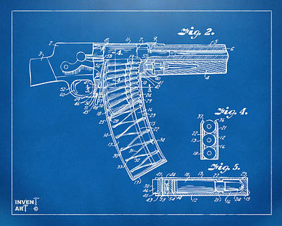 Weapon X Drawing - 1937 Police Remington Model 8 Magazine Patent Minimal - Blueprint by Nikki Marie Smith