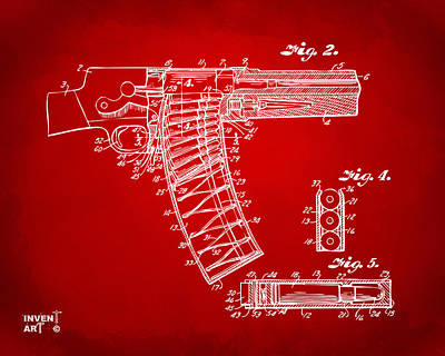 Xray Digital Art - 1937 Police Remington Model 8 Magazine Patent Minimal - Red by Nikki Marie Smith