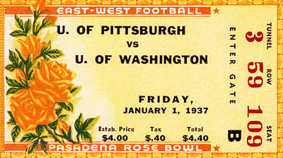 Football Royalty-Free and Rights-Managed Images - 1937 Rose Bowl Ticket by David Patterson