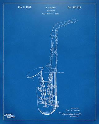 Saxaphones Digital Art - 1937 Saxophone Patent Artwork - Blueprint by Nikki Marie Smith