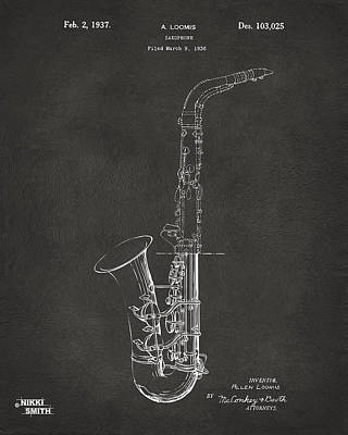 Celebrities Digital Art - 1937 Saxophone Patent Artwork - Gray by Nikki Marie Smith