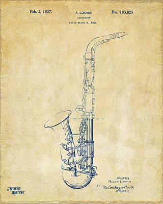 Saxaphones Digital Art - 1937 Saxophone Patent Artwork - Vintage by Nikki Marie Smith
