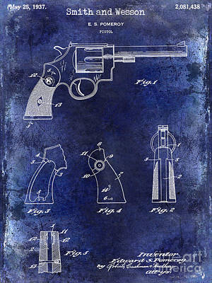 Smith And Wesson Photograph - 1937 Smith And Wesson Firearm Patent Drawing Blue  by Jon Neidert