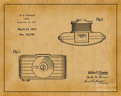1937 Walter D. Teague Camera Patent Art 1 Art Print