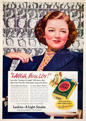 1938 - Lucky Strike Cigarettes Advertising - Myrna Loy - Color Art Print