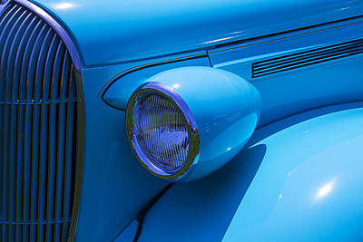 Headlight Photograph - 1938 Blue Plymouth Coupe by Garry Gay