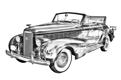 Photograph - 1938 Cadillac Lasalle Illustration by Keith Webber Jr