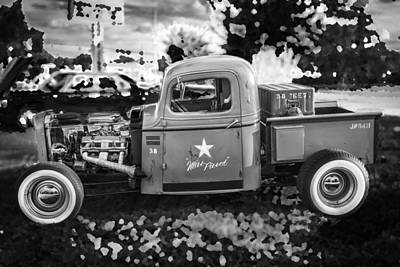 Photograph - 1938 Chevy Pick Up Truck Rat Rod Bw by Rich Franco