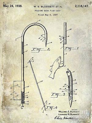 1938 Fishing Gaff Patent Drawing Art Print by Jon Neidert