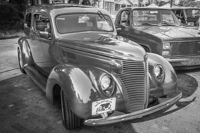 Ford Sedan Photograph - 1938 Ford 2 Door Sedan Painted Bw  by Rich Franco