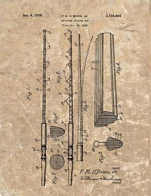 Pole Drawing - 1938 Laminated Fishing Rod Patent by Dan Sproul
