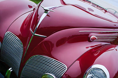Photograph - 1938 Lincoln-zephyr Convertible Coupe Grille - Hood Ornament - Emblem by Jill Reger