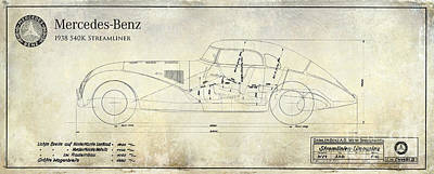Streamliner Photograph - 1938 Mercedes-benz 540 K Streamliner Blueprint A by Jon Neidert