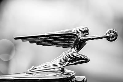 Photograph - 1938 Packard Hood Ornament -1094bw by Jill Reger