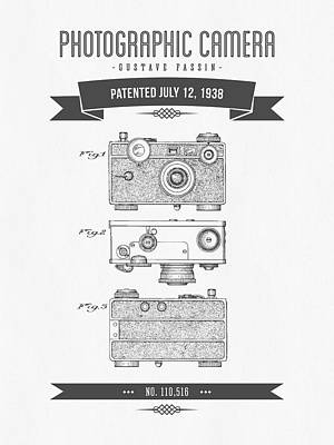 1938 Photographic Camera Patent Drawing - Retro Gray Art Print by Aged Pixel