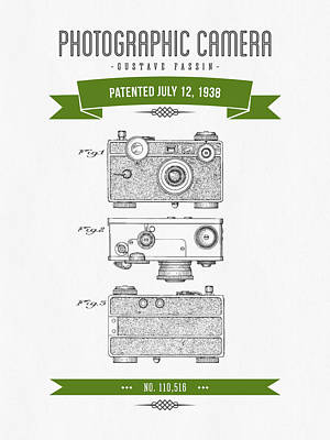 Camera Digital Art - 1938 Photographic Camera Patent Drawing - Retro Green by Aged Pixel