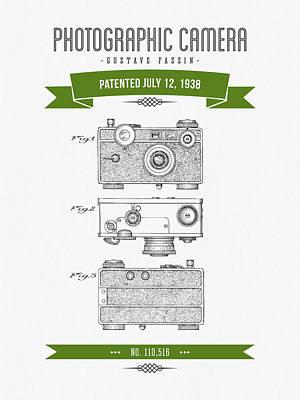 1938 Photographic Camera Patent Drawing - Retro Green Art Print