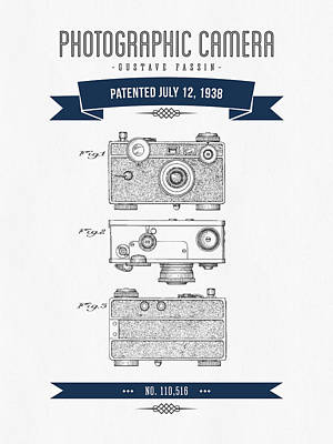 Camera Digital Art - 1938 Photographic Camera Patent Drawing - Retro Navy Blue by Aged Pixel