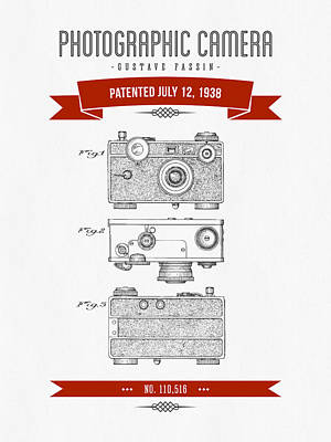 1938 Photographic Camera Patent Drawing - Retro Red Art Print by Aged Pixel