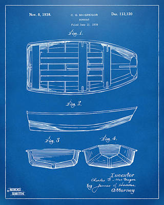 1938 Rowboat Patent Artwork - Blueprint Art Print