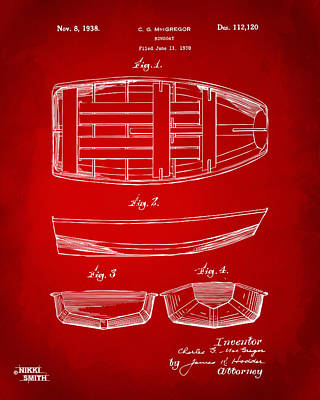 1938 Rowboat Patent Artwork - Red Art Print by Nikki Marie Smith