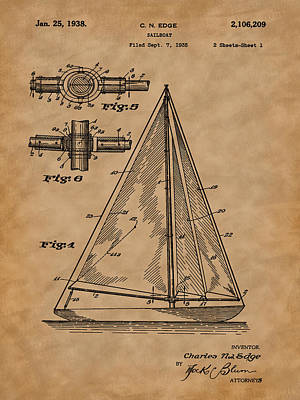 Photograph - 1938 Sailboat Patent Art-2 by Barry Jones