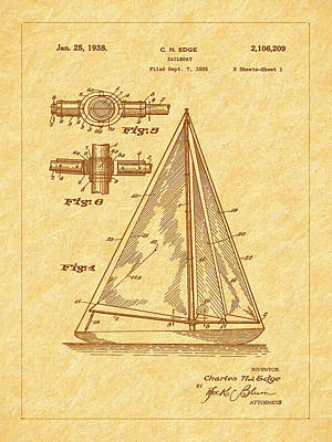 Photograph - 1938 Sailboat Patent Art by Barry Jones