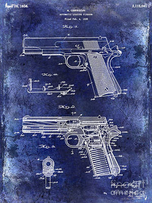 Smith And Wesson Photograph - 1938 Smith And Wesson Firearm Patent Drawing Blue by Jon Neidert