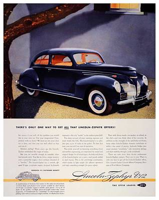 lincoln zephyr digital art 1939 lincoln zephyr v 12 advertisement color by