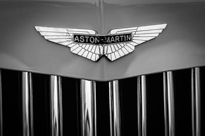 Photograph - 1939 Aston Martin 15-98 Abbey Coachworks Swb Sports Grille Emblem  -1256bw by Jill Reger