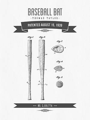 Baseball Glove Mixed Media - 1939 Baseball Bat Patent Drawing by Aged Pixel