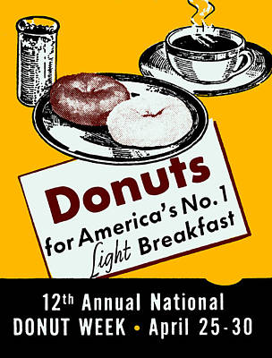 Donuts Painting - 1939 Donut Poster by Historic Image