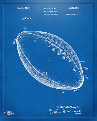 American Football Digital Art - 1939 Football Patent Artwork - Blueprint by Nikki Marie Smith
