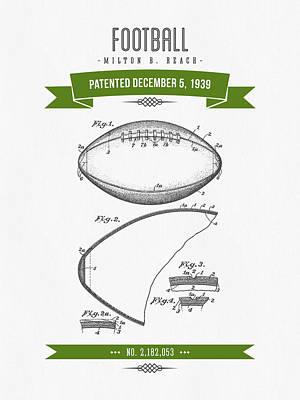 1939 Football Patent Drawing - Retro Green Art Print