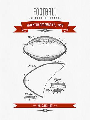 1939 Football Patent Drawing - Retro Red Art Print