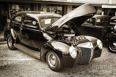 Photograph - 1939 Ford Sedan Classic Antique Car In Sepia 3411.01 by M K Miller