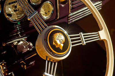 Art Print featuring the photograph 1939 Ford Standard Woody Steering Wheel by Jill Reger