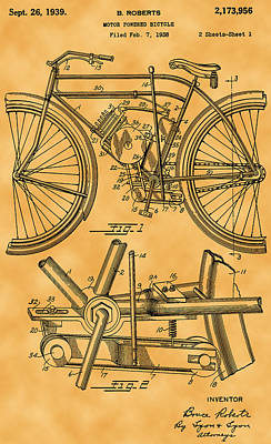 Photograph - 1939 Motor Powered Bicycle Patent by Michael Porchik