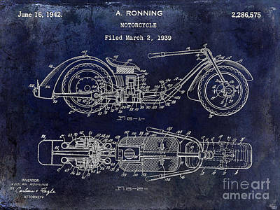 Harley Davidson Photograph - 1939 Motorcycle Patent Drawing Blue by Jon Neidert