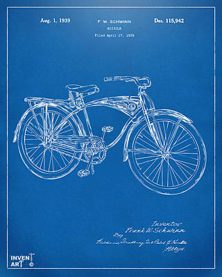 Drawing - 1939 Schwinn Bicycle Patent Artwork Blueprint by Nikki Marie Smith