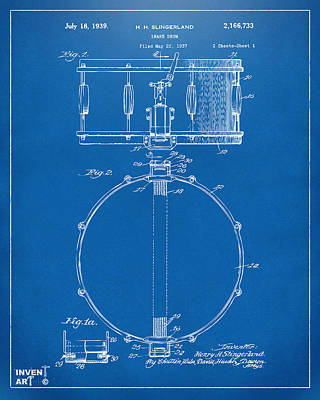 Marching Band Drawing - 1939 Snare Drum Patent Blueprint by Nikki Marie Smith