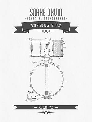 Drum Mixed Media - 1939 Snare Drum Patent Drawing by Aged Pixel