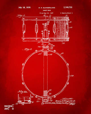Marching Band Drawing - 1939 Snare Drum Patent Red by Nikki Marie Smith